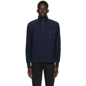 RRL Navy Ribbed Quarter-Zip Sweater