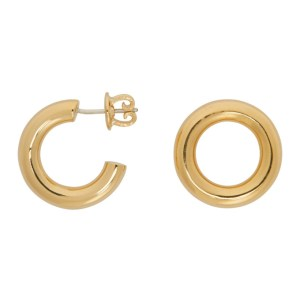 Numbering Gold Unbalanced Circle Earrings