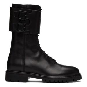 Legres Black Leather Military Combat Boots