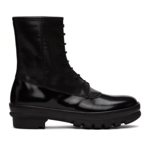 Legres Black Leather Rain Boots