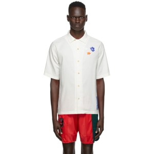 MCQ White Flower Embroidery Short Sleeve Shirt