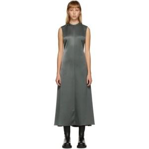 Peter Do SSENSE Exclusive Grey Half Twill Half Satin Open Back Dress