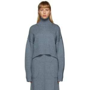 Peter Do SSENSE Exclusive Blue Cropped Tattoo Turtleneck