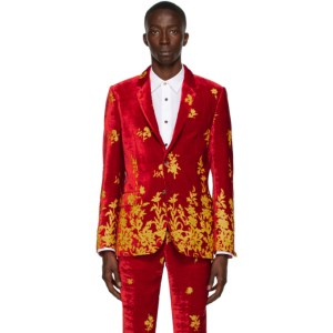 Paul Smith 50th Anniversary Red and Orange Velvet Devore Blazer