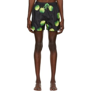 Paul Smith 50th Anniversary Black and Green Apple Swim Shorts