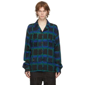FREI-MUT Black and Blue Wool Octarine Shirt