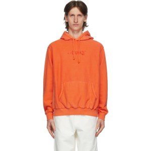 Awake NY Orange Embroidered Logo Hoodie