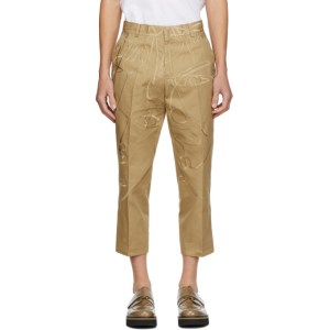 Sean Suen Tan Cropped Embroidered Trousers