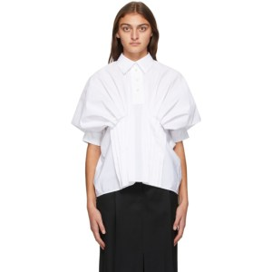 Nina Ricci White Gathered Volume Shirt