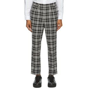 AMI Alexandre Mattiussi Black and White Carrot Fit Cuffed Hem Trousers