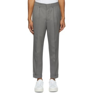 AMI Alexandre Mattiussi Grey Carrot Fit Cuffed Hem Trousers