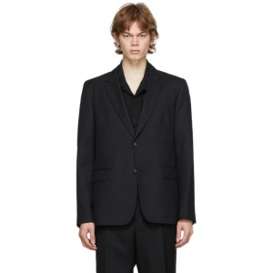 AMI Alexandre Mattiussi Black Twill Two-Button Blazer