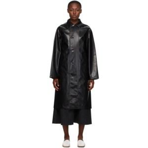 AURALEE Black Wool Cashmere Laminate Coat