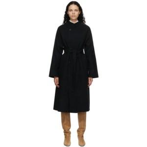 AURALEE Black Melton Long Coat