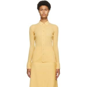 AURALEE Yellow Sheer High-Gauge Shirt