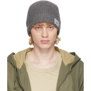 Visvim Grey Wool Rib Knit Beanie