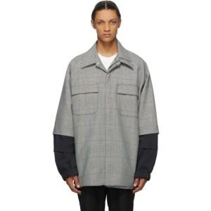 JERIH Black and White Checkered Shirt