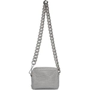 KARA Silver Crystal Mesh Camera Bag