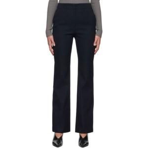 System Navy Wool Slit Hem Trousers