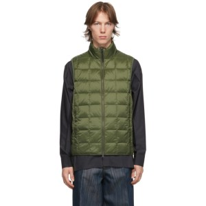 TAION Green Down Basic High Neck Puffer Vest