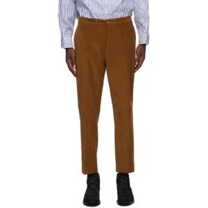 4SDESIGNS Tan Corduroy Half Sartorial Trousers