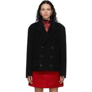 Meryll Rogge Black Wool Boucle Coat