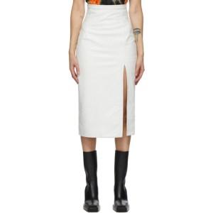 Meryll Rogge White Leather Vintage Slit Skirt