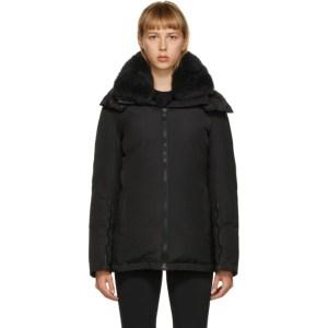 Yves Salomon - Army Black Down Shearling Technical Jacket