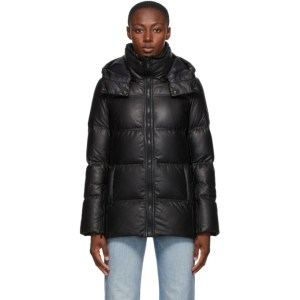 Yves Salomon - Army Black Down Leather Fitted Jacket