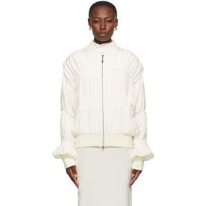 Winnie New York Off-White Silk Ruched Bomber Jacket