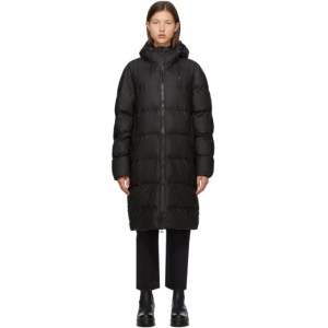 RAINS Black Taffeta Puffer Jacket