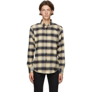 Naked and Famous Denim Black and Beige Easy Shirt