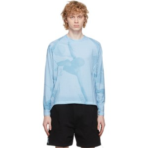 Saul Nash Blue and White See Me From Afar Illusion Long Sleeve T-Shirt