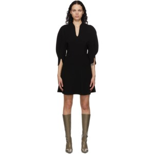 Mame Kurogouchi Black Volume Sleeve V-Neck Dress