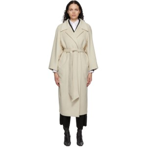 Mame Kurogouchi Off-White Wool Shaggy Belted Coat