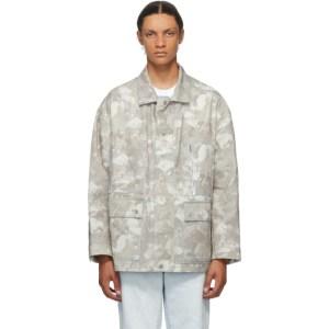 Marcelo Burlon County of Milan Beige and White Safari Camouflage Jacket