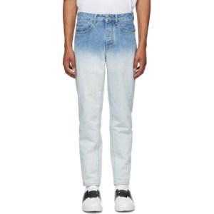 Marcelo Burlon County of Milan White and Blue Denim Gradient Jeans