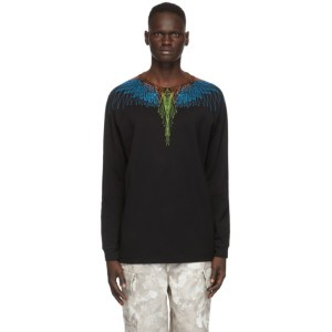 Marcelo Burlon County of Milan Black and Blue Wings Long Sleeve T-Shirt