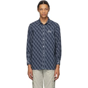 Georges Wendell SSENSE Exclusive Blue and White Allover Logo Shirt