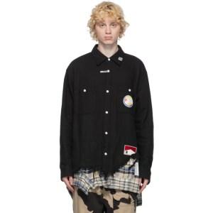 Miharayasuhiro Black Layered Cutoff Shirt