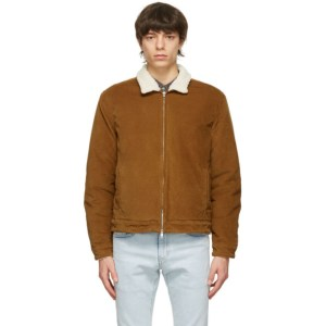 Levis Made and Crafted Tan Sherpa Quilted Zip Jacket