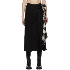 Yohji Yamamoto Black Left Pleats Skirt