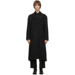Yohji Yamamoto Reversible Black Twill Coat