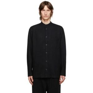 Yohji Yamamoto Black Wool Mock Neck Shirt