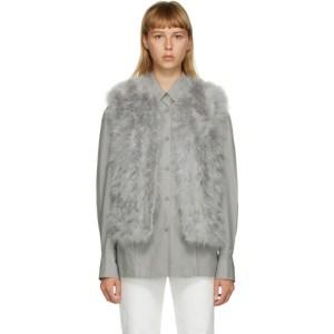 Yves Salomon Grey Feather Cropped Vest