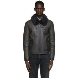 Yves Salomon Grey Leather Jacket