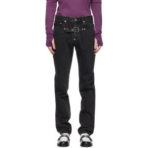 Johnlawrencesullivan Black Front Side Belted Jeans