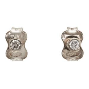 Pearls Before Swine Silver White Diamond Stud Earrings