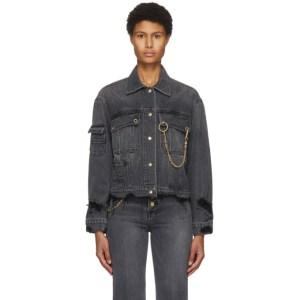 SJYP Black Denim Distressed Jacket