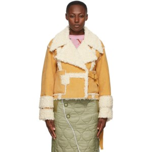 SJYP Yellow Faux-Leather Mustang Short Jacket
